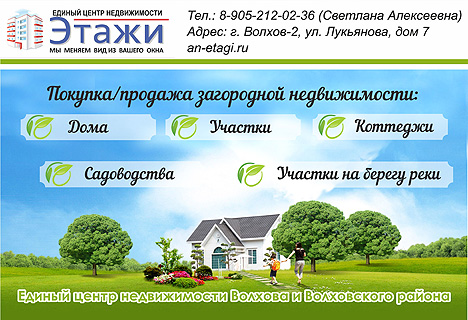 Агентство недвижимости ЭТАЖИ в Волхове.